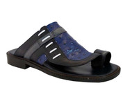 Davinci 3980 Men's Italian push In Toe Ostrich Leather Sandals Blue