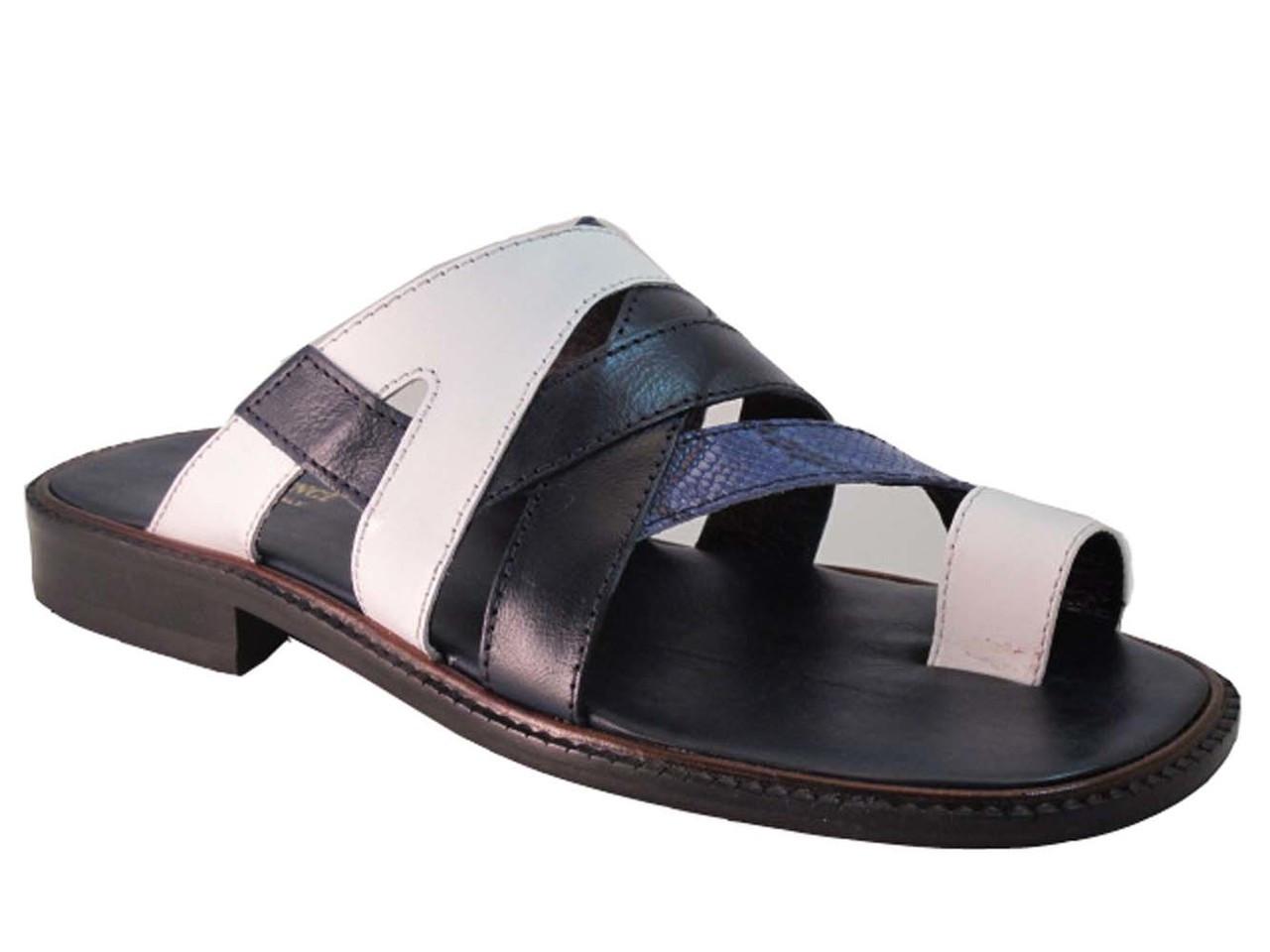 b3c13dd0edd81 Davinci 3839 Men's Push In Toe Italian leather Sandals, White/Blue