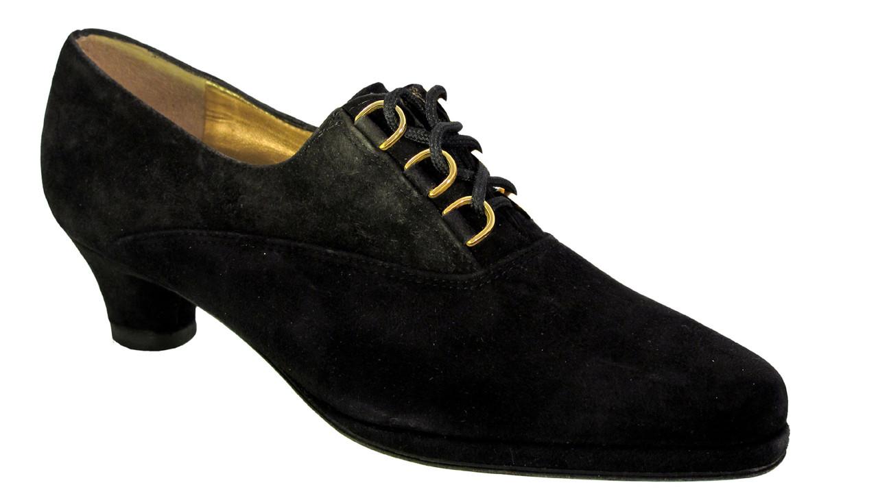 04faacfe1 Barbarella Women's Italian 4027 Low Heel Lace Up Shoes Black