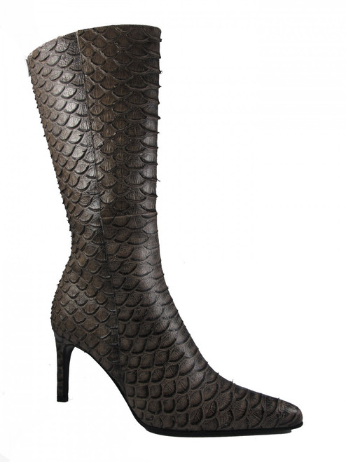 DA'VINCI 4051 Women's Italian Leather Python Print Dress/Casual Low Heel Pointy Toe in Taupe Snake Skin side view