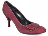 Women's Davinci Italian Low Heel Dressy Suede Pump 4591 Black and Pink