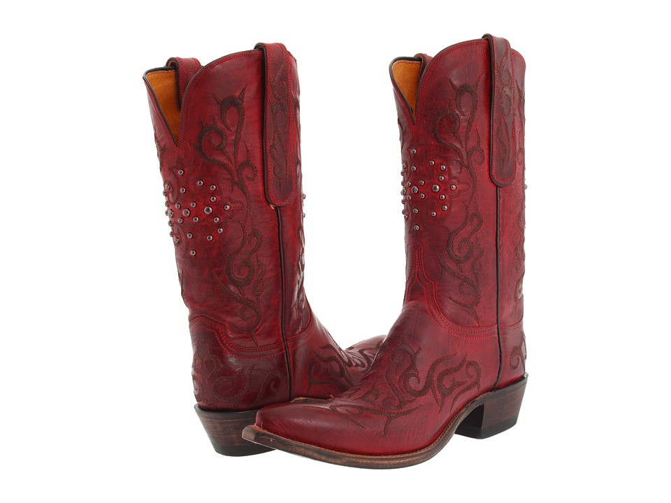 7a295821372 Womens Lucchese N4724.S53 Red Burnished Goat Cowboy Boots