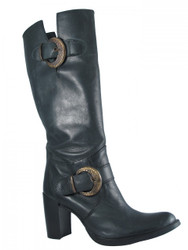Women's Davinci Leather  Knee High Italian boots with two Buckles 7002,Available in black and brown