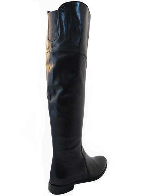 Women's Davinci Italian Leather 2667 Flat Knee High boots Black By ...