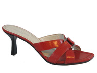 Romanelli Women Italian Mid Heel Slide Sandals 9408,Red