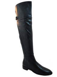Women's Davinci Italian Leather 2551 Flat Knee High boots Black
