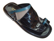 Davinci 9058 Men's Italian Leather Slipper Sandals, Multi-Color Blue