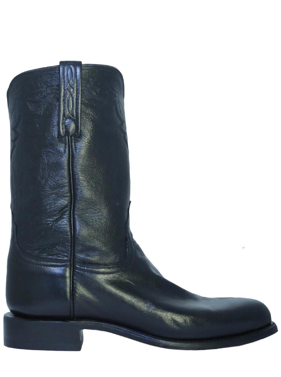 0dbf32a1c1c Lucchese T0082 Men's Leather Roper Cowboy Boots Short Shaft Black