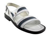 Davinci 9969 Men's Italian Denim Fabric Back Strap Sandal, White, Blue