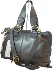 Davinci Italian Women's Black Leather Bag 56355