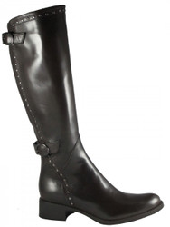 Women's Flat Leather Italian, Knee High Boots,By Le Pepe