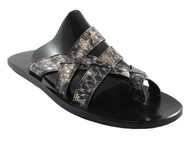 Davinci Men's Leather dressy Italian Snake Sandal 057 Grey and Black python