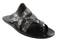 Davinci Men's Leather dressy Italian Snake Sandal 057 Grey and Black python