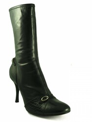 Women's Mid Calf Round Toe Italian Boots 1145 Black Size 41 Davinci Designer