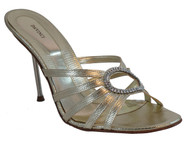 Davinci Italy 1541 Women's Mid Heel Italian Slide Sandal Light Gold