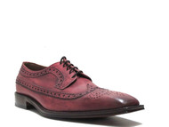 Toscana Italy 1613 Men's Lace-up Leather Shoes Square Toe In Red