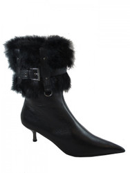 Women's Italian Dress Pointy Low Heel , Ankle Boots, Black With Fur 2212
