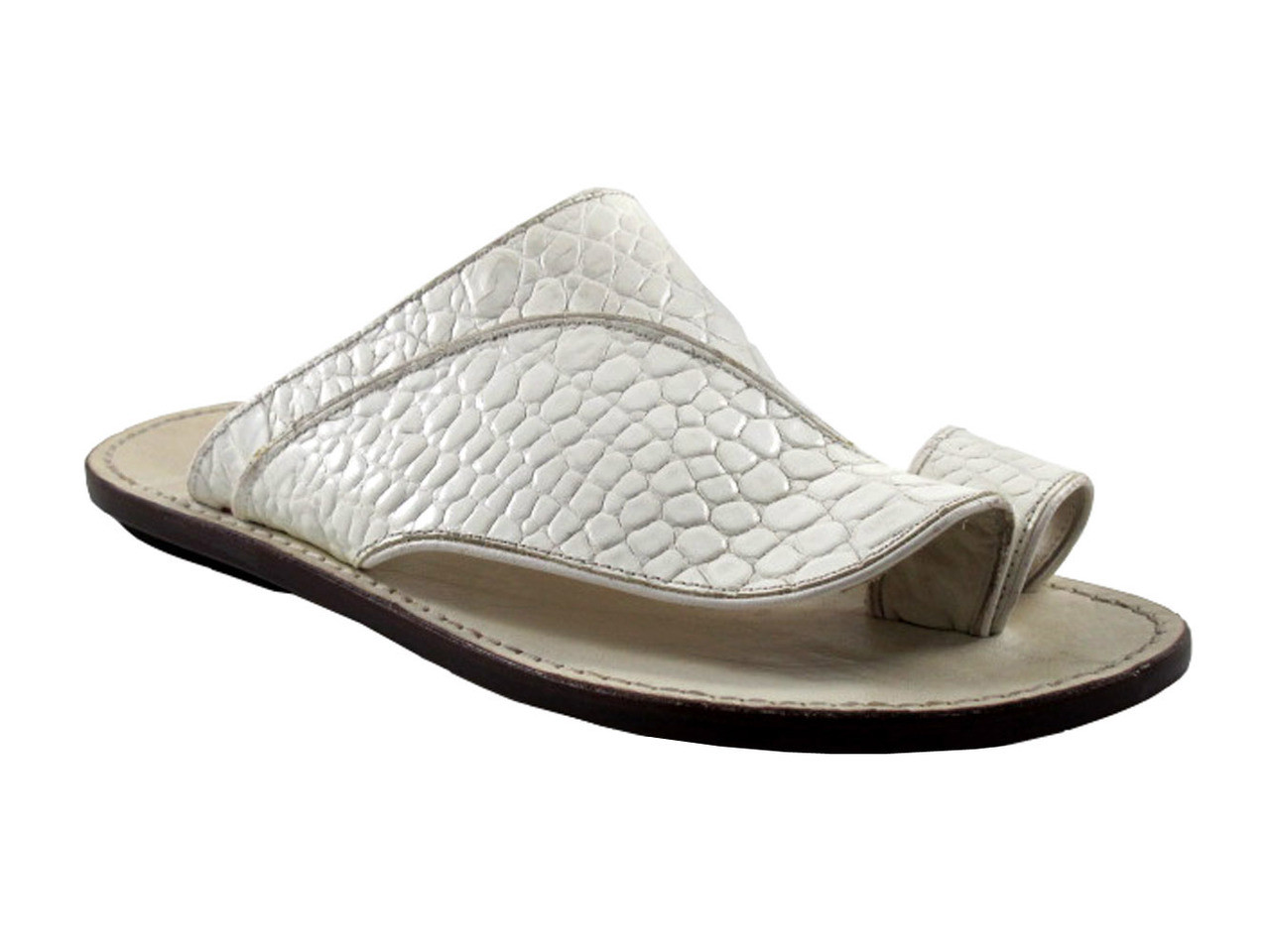 e6eac98b86af7 Davinci Men s Italian Leather Push-Toe Sandals 473 In White.  199.00. Image  1