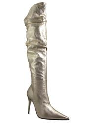 Women's Over Knee Sexy High Heel Boots Italian 5553 plato Biondini Blk/Slvr