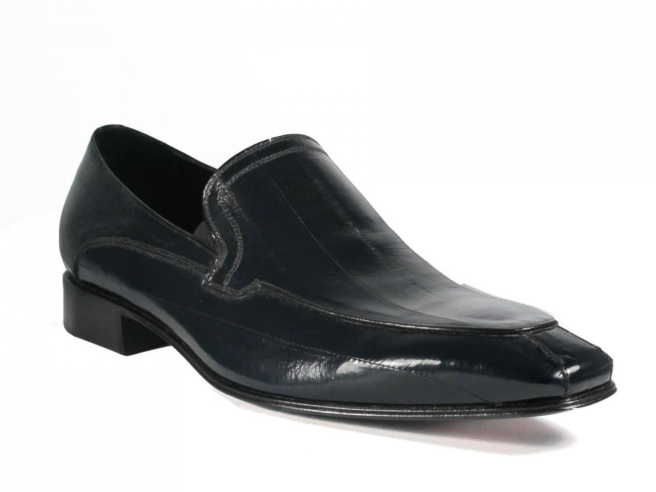 94ae5af7c L.Lancio Men s Eel Skin Slip-on Italian Shoes 6692 Black