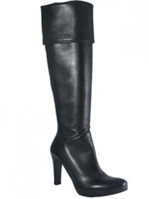 Women&39s Julie Dee Italian Leather knee high/Over the Knee boots Black