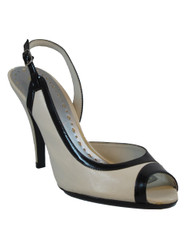 BCBG Women's Lacey, Sling-back Open Toe Pumps, Black/White Size 10