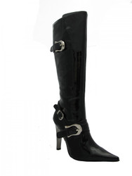 Women's Black Patent pointy  Boots with buckles Mida By Juno