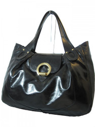 Gironacci Prestige Nero Women's 681 Patent Italian Leather Medium Shoulder Bag in Black