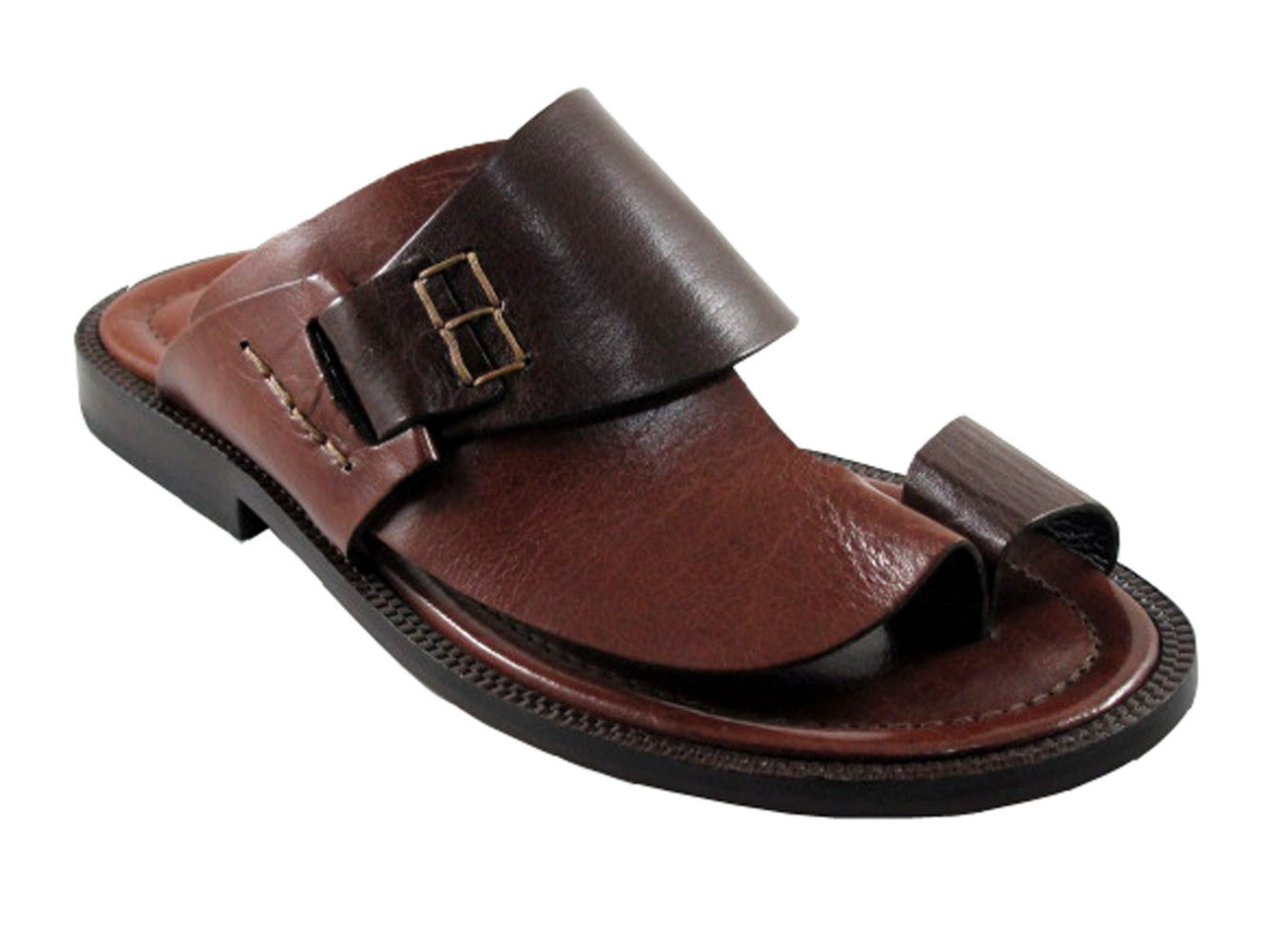 d38c13f5780fd Men's Davinci Italian Leather Push Toe Sandals 1099