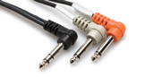 Hosa STP-201RR Insert Cable Right-angle 1/4 in TRS to Dual Right-angle 1/4 in TS (1 meter)