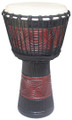 "Red Black Band Carved Djembe 24"" x 12"""