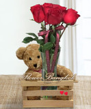 9 Roses With A Teddy Bear