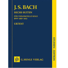 6 Suites for Violoncello BWV 1007-1012 For Cello (Study Score). Johann Sebastian Bach (1685-1750). Edited by Egon Voss. Study Score. Henle Study Scores. 122 pages. G. Henle #HN9666. Published by G. Henle.  The most important source for Bach's Cello Suites is a copy made by his wife Anna Magdalena because the autograph is no longer extant. As further copies show, the actual musical text is scarcely problematic. However, the slurs, which are particularly important for string instruments, are very inexact and compel the editor to make difficult decisions. Our practical edition, HN 666, is in two parts. It not only offers the Urtext edition – with preface and critical commentary – but also a part for playing. The new study edition contains the Urtext part, but in addition offers a reproduction of Anna Magdalena's copy. This means that both cellists and music lovers alike are able to form their own opinion about the much discussed problems. Contents: Suite G Major BWV 1007 • Suite D Minor BWV 1008 • Suite C Major BWV 1009 • Suite E flat Major BWV 1010 • Suite (Skordatur) C Minor BWV 1011 • Suite D Major BWV 1012 • Appendix: 5th Suite in pitch notation C Minor BWV 1011.