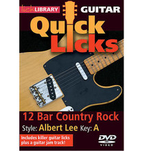 12-Bar Country Rock - Quick Licks. (Style: Albert Lee; Key: A). By Albert Lee. For Guitar (Guitar). Lick Library. DVD. Lick Library #RDR0277. Published by Lick Library.  Learn country rock licks in the style of Albert Lee, technical virtuoso widely known as Mr Telecaster, and regarded by Eric Clapton as the greatest guitarist in the world. Also includes a guitar jam track. Lessons by Steve Trovato. Each Quick Licks DVD includes an arsenal of guitar licks in the style of your chosen artist to add to your repertoire, plus backing tracks to practice your new licks and techniques. Steve Trovato is best known as a world class country guitarist, but is equally proficient in a wide range of popular guitar styles. He has written a number of bestselling guitar instruction books and maintains a full time position in the Guitar Department at the University of Southern California.