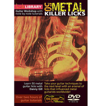 50 Metal Killer Licks. (Guitar Workshop with Note-for-Note Tutorials). By Danny Gill. For Guitar (Guitar). Lick Library. DVD. Lick Library #RDR0004. Published by Lick Library.  This excellent DVD will teach you some of the guitar techniques used by metal legends such as Yngwie Malmsteen * Randy Rhoads * Kirk Hammett * and Zakk Wylde that influenced guitarists worldwide! If you're looking to take your playing to the next level, this DVD will provide you with an arsenal of metal style licks that you can incorporate into your rhythm patterns and soloing!!