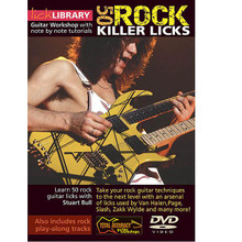 50 Rock Killer Licks by Stuart Bull. For Guitar (Guitar). Lick Library. DVD. Lick Library #RDR0005. Published by Lick Library.  This excellent DVD will teach you some of the guitar techniques used by rock legends such as Eddie Van Halen * Jimmy Page * Slash * and Zakk Wylde that influenced rock guitarists worldwide! If you're looking to take your playing to the next level, this DVD will provide you with an arsenal of licks that you can incorporate into your rock soloing. Topics include: picking licks * legato licks * arpeggios * octave licks * tremolo bar licks* tapping phrases * and more!!