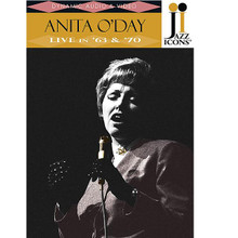"""Anita O'Day - Live in '63 & '70. (Jazz Icons DVD). By Anita O'day. For Vocal. DVD. DVD. Jazz Icons #2119015. Published by Jazz Icons.  Jazz Icons DVDs feature full-length concerts and in-studio performances by the greatest legends of jazz, filmed all over the world from the 1950s through the 1970s. Beautifully transferred from the original masters, each DVD features rare performances that have never been officially released on home video and, in many cases, were never broadcast. Each DVD includes a booklet with liner notes, rare photos and a memorabilia collage. Produced with the full support and cooperation of the artists or their estates.  Two wonderful concerts from 1963 and 1970 that present the """"jazz singer supreme"""" in impeccable form. O'Day's horn-based approach to singing is in full effect throughout both shows including stand-out renditions in each show of audience favorites """"Tea for Two"""" and """"Sweet Georgia Brown"""" (both reprised from her triumphant appearance at the 1958 Newport Jazz Festival.) This DVD is a fitting testimony to one of jazz music's true originals and shows unequivocally why she is ranked in the top tier of vocalists along with Ella Fitzgerald, Sarah Vaughan and Billie Holiday. 60 minutes."""