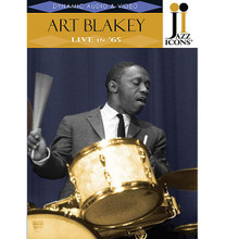 "Art Blakey - Live in '65. (Jazz Icons DVD). By Art Blakey. DVD. DVD. Jazz Icons #2119017. Published by Jazz Icons.  Jazz Icons DVDs feature full-length concerts and in-studio performances by the greatest legends of jazz, filmed all over the world from the 1950s through the 1970s. Beautifully transferred from the original masters, each DVD features rare performances that have never been officially released on home video and, in many cases, were never broadcast. Each DVD includes a booklet with liner notes, rare photos and a memorabilia collage. Produced with the full support and cooperation of the artists or their estates.  This DVD boasts an exceptional one-hour concert by Art Blakey from Paris in 1965. This performance showcases one of the few undocumented Blakey bands, the New Jazzmen, featuring the incomparable Freddie Hubbard on trumpet, as well as Jaki Byard on piano, Reggie Workman on bass, Nathan Davis on sax and, of course, Art Blakey on drums-truly a powerhouse quintet! Freddie Hubbard's incendiary playing on ""Blue Moon"" and the blistering 24-minute version of his own ""Crisis,"" serves as a cogent reminder that he was one of the most innovative trumpeters in jazz history. 60 minutes."