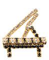 Grand Piano Gold Rhinestone Brooch