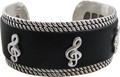 Bracelet - Silver Black Leather G-Clef