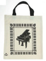 Grand Piano Tote Bag - White - framed by keyboard