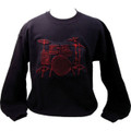 Drum Set Sweatshirt - Black/Red - Extra Large