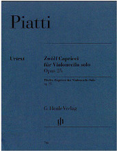 12 Capricci Op. 25 (Cello Solo). By Alfredo C. Piatti (1822-1901). Edited by Christian Bellisario. For Cello. Violoncello. Henle Music Folios. Pages: V and 40. Softcover. 44 pages. G. Henle #HN746. Published by G. Henle.  Piatti's Twelve Caprices, Op. 25, are the daily bread of all advanced players of the cello: Sir Yehudi Menuhin mentioned them in the same breath with the Bach Suites. Now Henle is presenting the very first urtext edition of this opus, with information on sources and alternative readings and with fold-out pages to solve the previously knotty problem of page turns.