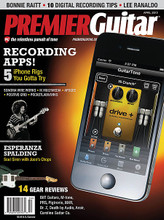 Premier Guitar Magazine - April 2012. PREMIER GUITAR. 208 pages. Published by Hal Leonard.  Get your recording fill with a roundup of five recording/tone-generating apps for iPhone, a feature on 10 essential tips for digital recordists, and the debut of our new Studio Legends features-the first of which features an in-depth interview with Alan Parsons about lessons he learned from recording Pink Floyd's Dark Side of the Moon. We also talk to blues legend Bonnie Raitt about her first album in seven years, Sonic Youth guitarist Lee Ranaldo about his first-ever solo album, and Grammy-winning soul siren/bass phenom Esperanza Spalding about Radio Music Society. We've also got a DIY feature on setting acoustic intonation, and a profile of custom shred-guitar luthier Mike Sherman. Reviews this month include the Bilt S.S. Zaftig * Dr. Z MAZ 8 Studio * PRS SE 30 * MXR Bass Fuzz Deluxe * Pigtronix FAT Drive * Death by Audio Apocalypse * M-tone Slipstream * Ansir Imperial SL 4-string * and Caroline Guitar Co. Olympia.