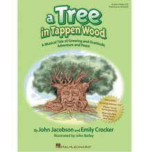 "A Tree in Tappen Wood. (A Musical Tale of Growing and Gratitude, Adventure and Peace). By Emily Crocker and John Jacobson. Teacher Magazine w/CD. Music Express Books. Softcover with CD. Guitar tablature. 40 pages. Published by Hal Leonard.  If trees could talk, what stories they might tell and what lessons they could teach! There is a tree that stands in Tappen Wood. Its branches stretch to the sky and look down to witness some of the pivotal moments in the history of America. If we listen carefully, perhaps this tree can speak to us. Perhaps it could reinforce our yearning for miracles, our penchant for dreaming and our hearts full of gratitude. Popular writing team John Jacobson and Emily Crocker bring you this stirring, yet tender musical story for young readers that reminds us where we came from and helps us discover who we really are. Available in hard cover with full color illustrations and a CD with author narration and 6 songs. Now you can bring the musical story of ""A Tree in Tappen Wood"" to life on stage with the Teacher Edition/CD that includes piano accompaniments, reproducible songsheets and story text, choreography, and instrumental-only CD tracks! For extra value, the Performance Kit/CD provides the Teacher Edition/Accompaniment CD and Storybook/Listening CD. Duration: ca. 30 minutes. Suggested for grades 3-6.  Contents:     Growing     All The People Said Thanks     Tiny Little Miracles     Do You Wanna Know Freedom?     Ev'rybody's Talkin' Bout Peace     A Time For Dreams"