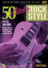 50 Licks Rock Style by Tom Kolb. For Guitar. Instructional/Guitar/DVD. DVD. Published by Hal Leonard.  Musicians Institute instructor Tom Kolb teaches licks in the styles of rock guitar masters such as Jimmy Page, Eric Clapton, Jeff Beck, Eric Johnson, the Allman Brothers, Keith Richards, Chuck Berry, Stevie Ray Vaughan, Joe Satriani, Billy Gibbons, Dave Navarro, Mark Knopfler, and other great players! He explains how to apply the licks over certain chords or progressions, and covers techniques such as hammer-ons, pull-offs, slides, vibrato, bends, octaves, harmonics, whammy bar, double stops, sequencing of scales, intervallic licks, arpeggios, and many more. Includes a helpful instructional booklet. 60 minutes.