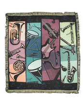 """Life is empty without music! This beautifully rendered blanket has an instrument design and vivid color. Measures 48"""" wide by 60"""" long. 100% Cotton."""