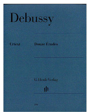 12 (Piano Solo). By Claude Debussy (1862-1918). Edited by Ernst-Gunter Heinemann and Ernst-G. For Piano. Piano (Harpsichord), 2-hands. Henle Music Folios. Pages: XVII and 75. SMP Level 10 (Advanced). Softcover. 90 pages. G. Henle #HN390. Published by G. Henle.  About SMP Level 10 (Advanced)  Very advanced level, very difficult note reading, frequent time signature changes, virtuosic level technical facility needed.