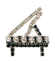 Grand Piano Silver Rhinestone Brooch