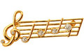 Music Staff Rhinestone Brooch